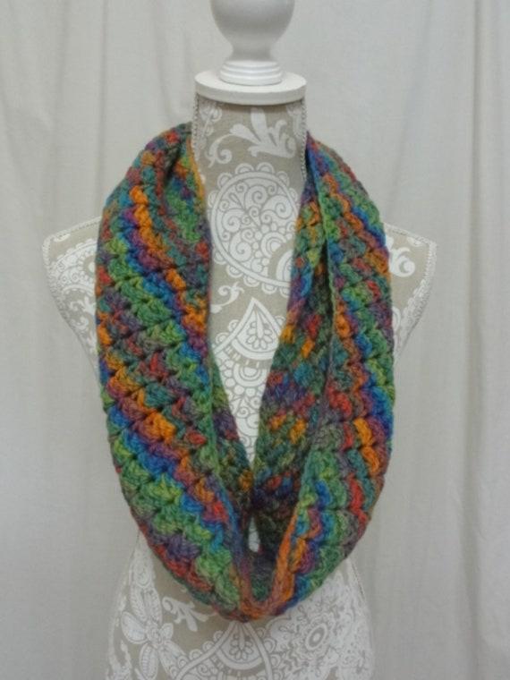 Chunky merino infinity scarf bright spring colors