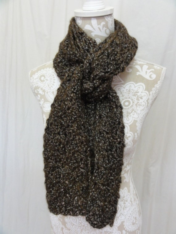 Chocolate Brown Chunky Sparkly Scarf