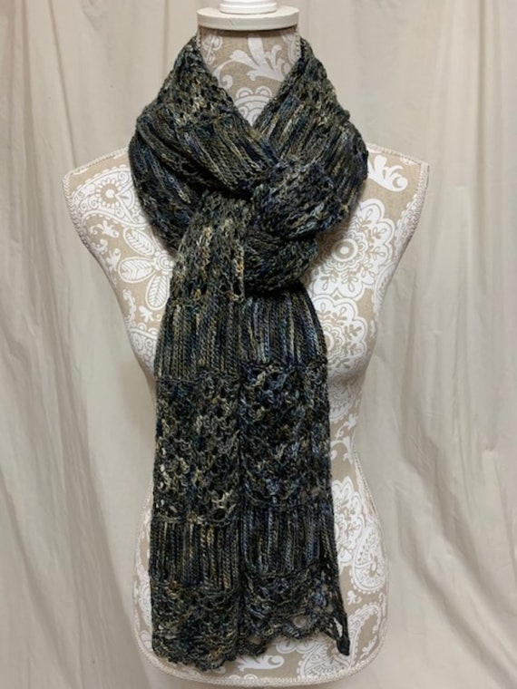 Merino Silk wrap/scarf in blue, navy, brown, olive