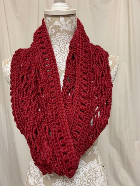 Red lacy infinity scarf merino silk alpaca