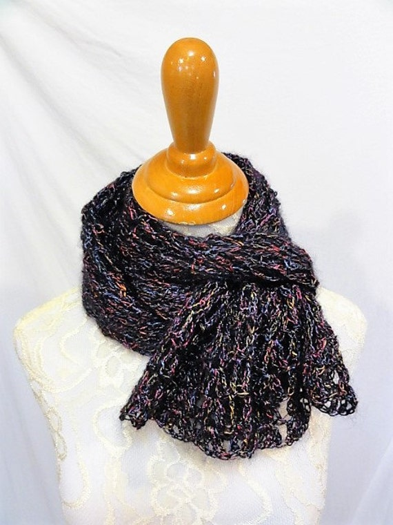 black with jewel tone sparkle wrap scarf super scarf lacy and elegant
