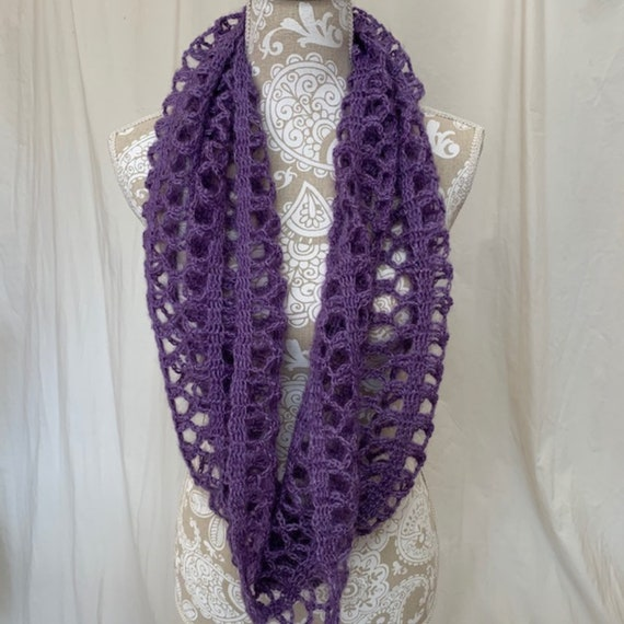 Purple lacy infinity scarf with a touch of sparkle