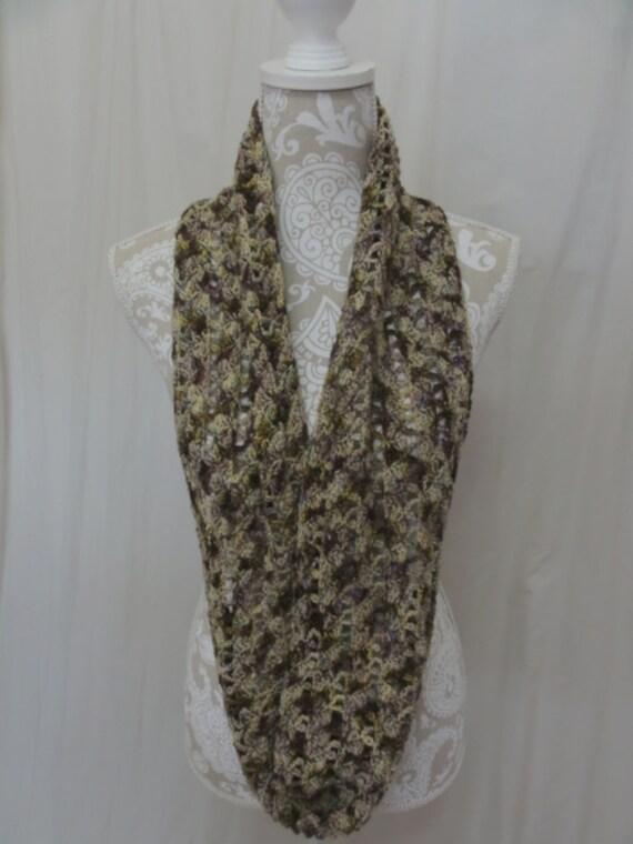 Chocolate, purple, green, merlot, olive green and mauve infinity scarf 100% merino