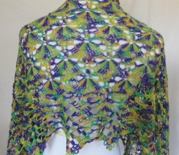 purple green gold lace shawl hand dyed in MT