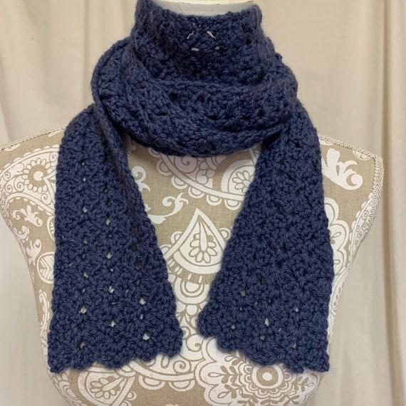 Dark periwinkle blue scarf merino angora silk