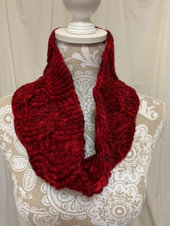 Red Merino Wool Cabled Cowl