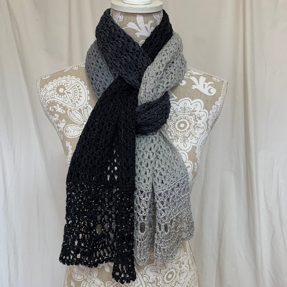 Color block grey and black scarf/wrap in cashmere silk with glass beads