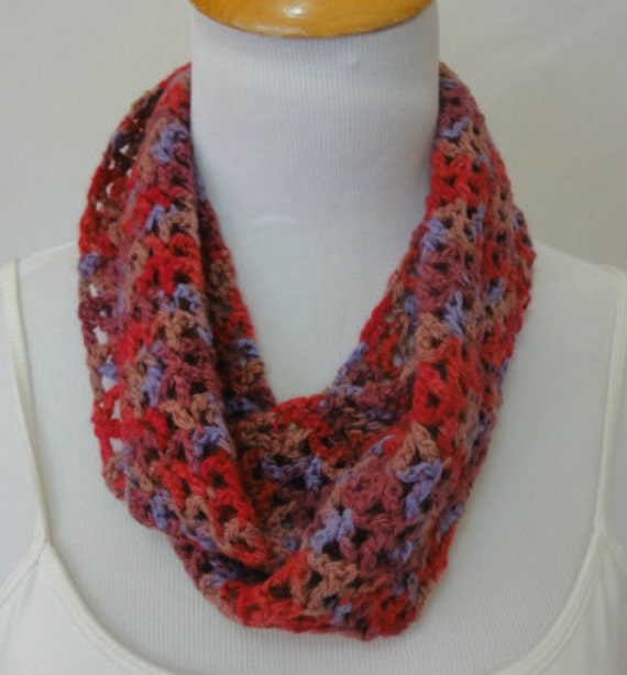 cashmere blend infinity scarf magenta, taupe, raspberry, periwinkle soft and warm