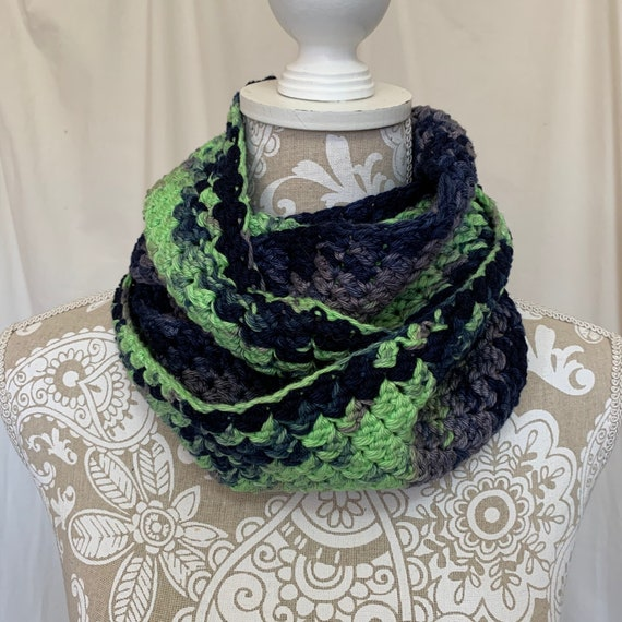 Seattle Seahawks hand dyed cotton infinity scarf NO WOOL