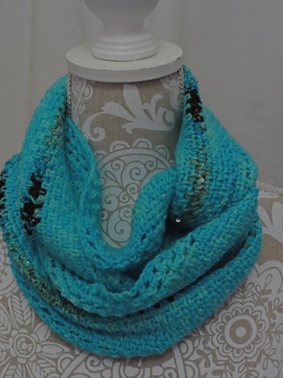Aqua blue cashmere silk merino infinity scarf