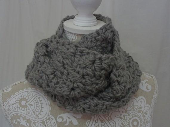 Chunky dove grey cowl/infinity scarf