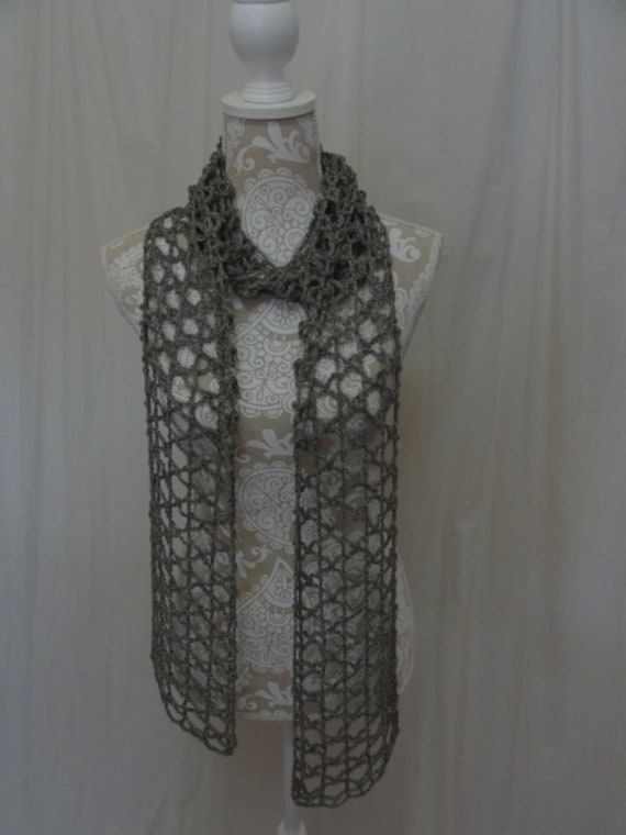 Grey taupe linen scarf (no wool)