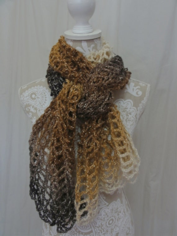 Ivory, Taupe, Chocolate shawl/super scarf  NO WOOL