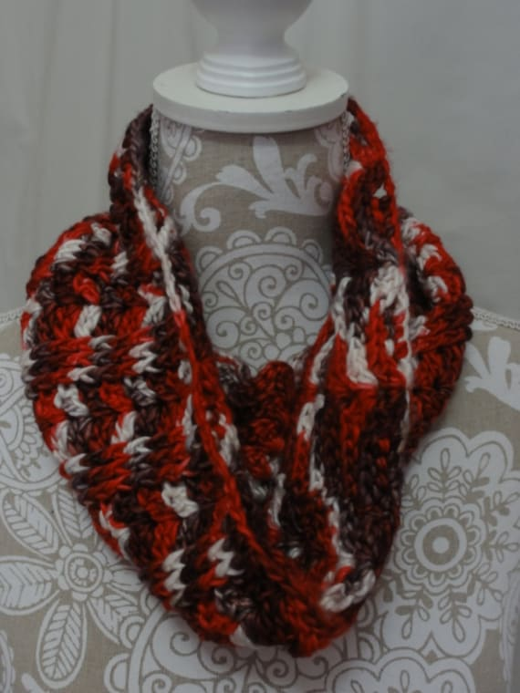 Hand dyed red, ivory and silver cabled cowl