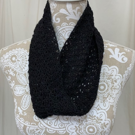 Black alpaca silk lace cowl