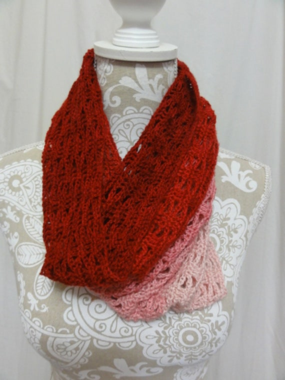 Shades of pink and red baby alpaca silk cowl