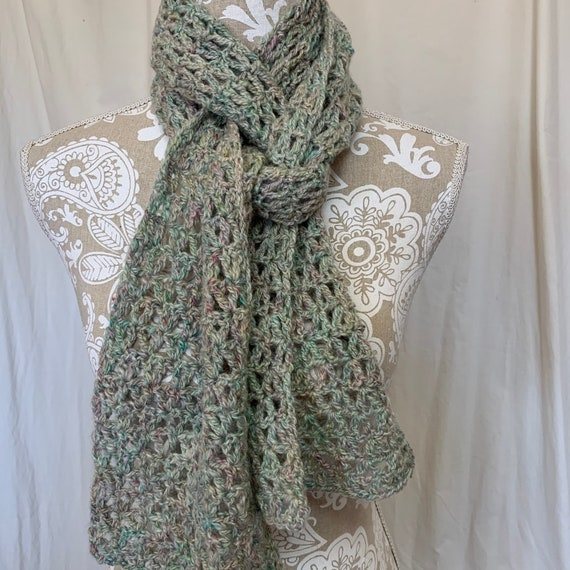 Shades of mint and teal green with subtle pops of pink alpaca scarf
