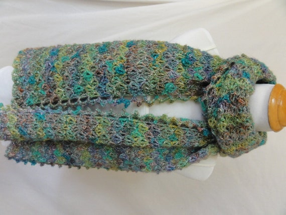 Shades of green shawl wrap or super scarf with a touch of sparkle no wool