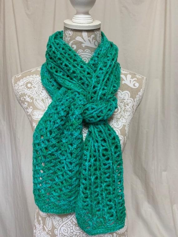 Kelly and mint green semi solid alpaca merino scarf
