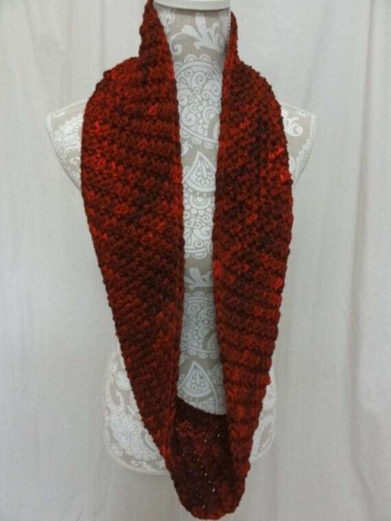 Red chunky merino wool infinity scarf