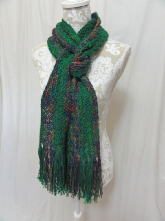 Green fringed  scarf hand dyed in Montana merino mohair