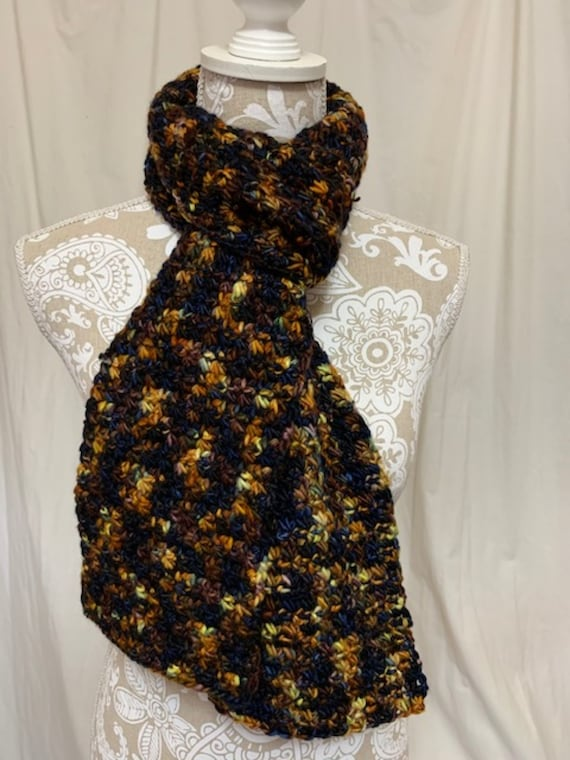 Navy and gold merino scarf