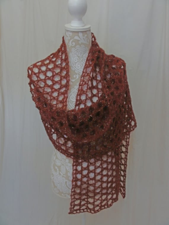 Maroon mohair wrap/ super scarf with silver sparkle