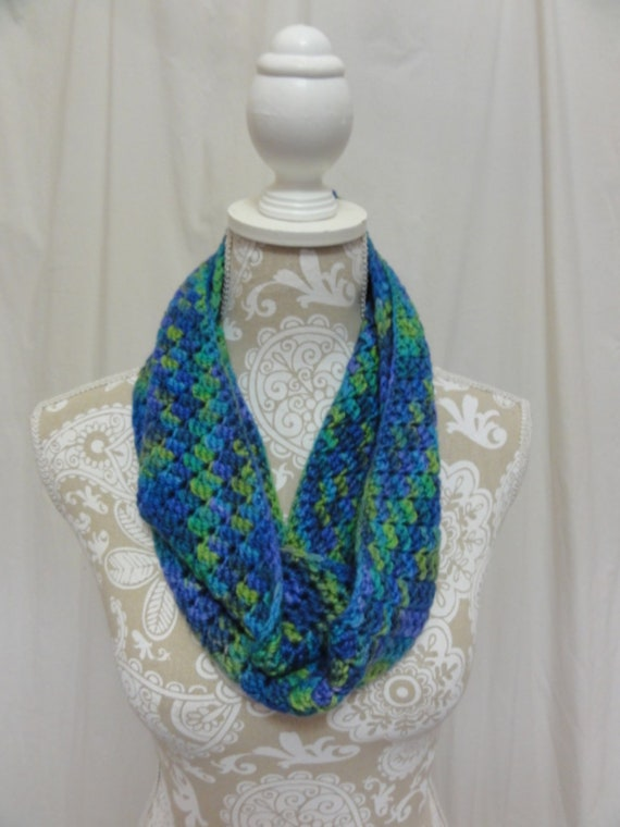 Merino silk infinity scarf hand dyed in Montana lime green blue periwinkle