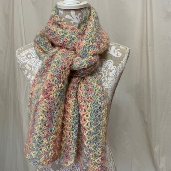 Pastel mohair scarf