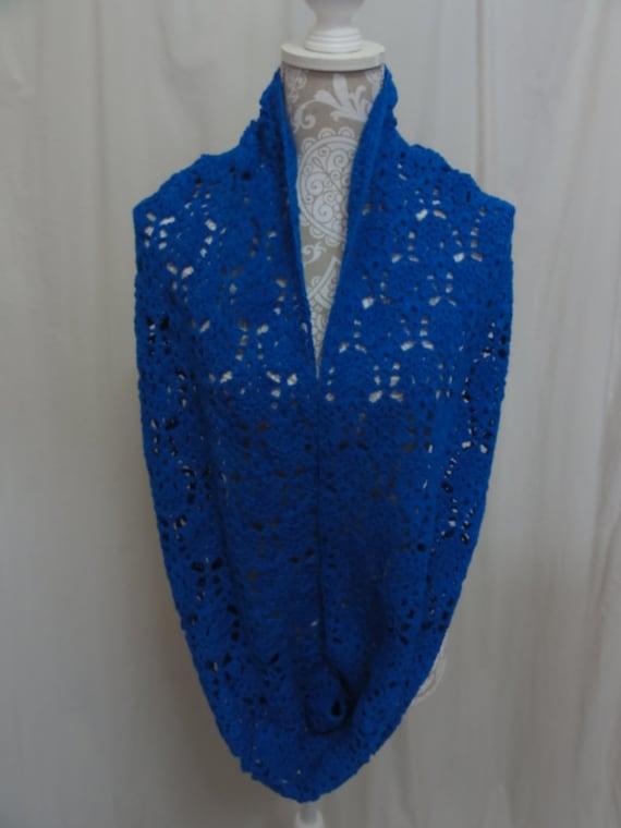 Bright blue alpaca infinity scarf