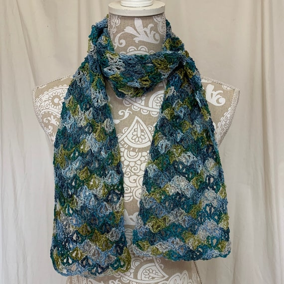 Linen scarf in olive teal and shades of blue hand dyed in Virginia  NO WOOL