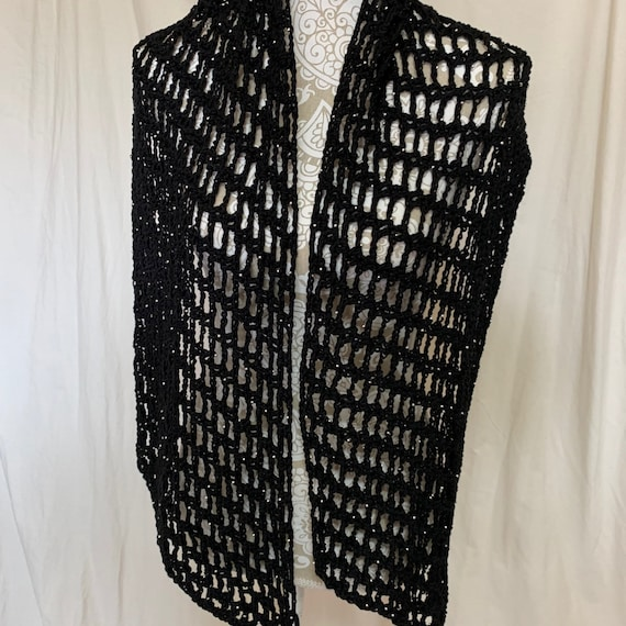 Black beaded cotton acrylic scarf/wrap NO WOOL