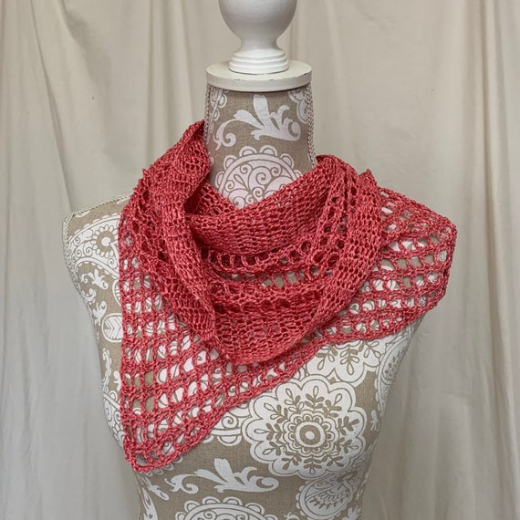 Asymmetrical coral silk shawl  NO WOOL