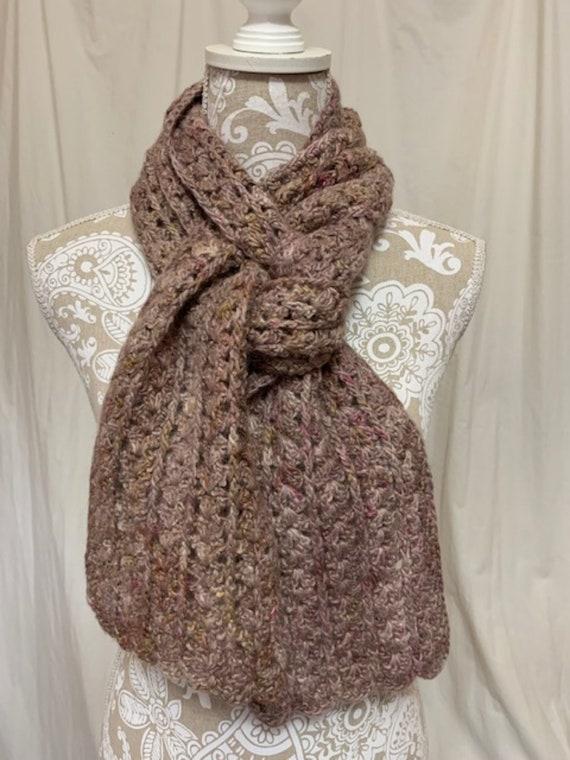 Dusty mauve and sage alpaca wool silk scarf