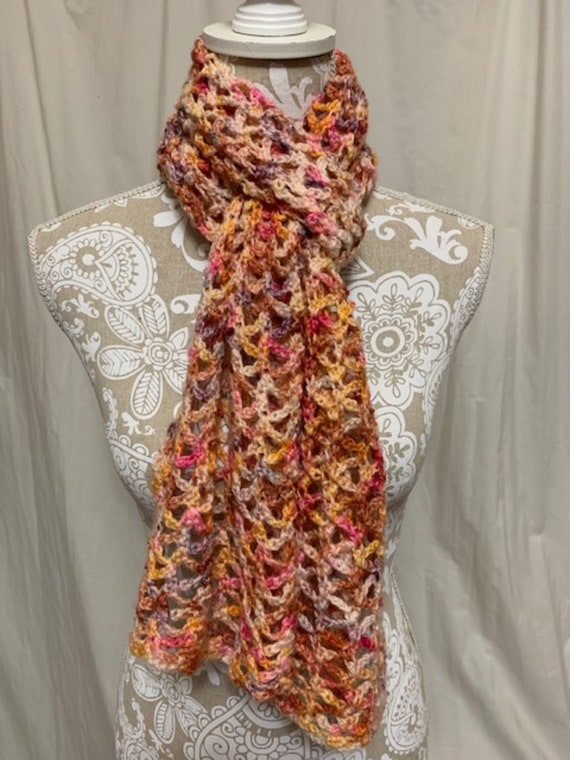 Copper peach pink and purple wool mohair nylon scarf hand dyed in Montana