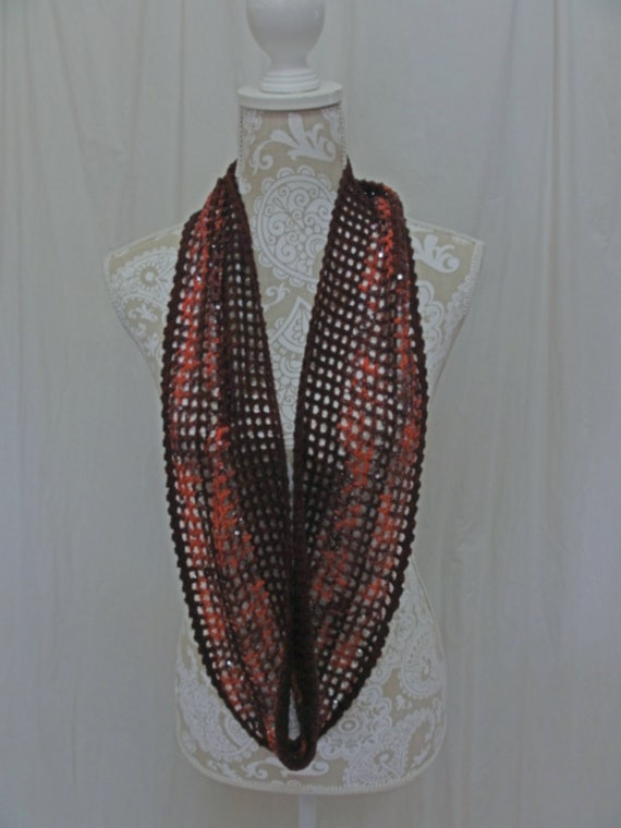 Ruby Red Infinity Scarf with Sequins