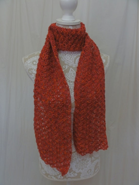 Bright pink and orange mohair blend scarf with sparkles