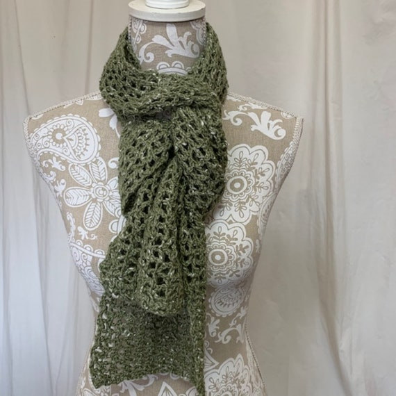 Light olive green merino alpaca silk scarf