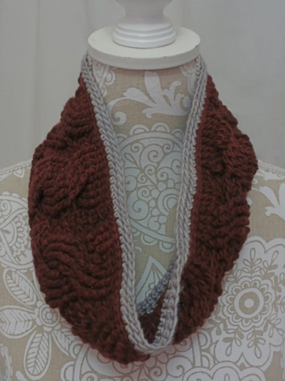 Maroon cable cowl with grey edging | merino silk neckwarmer | maroon ear warmer