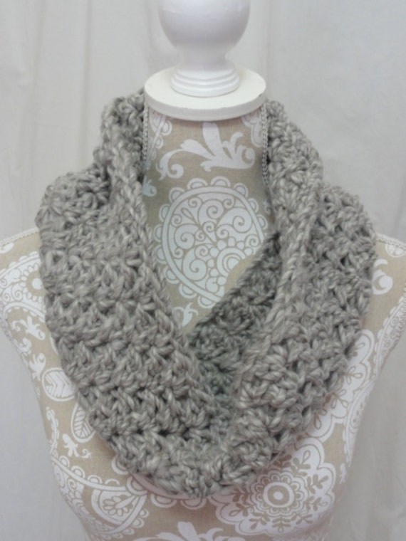 Light grey silver chunky wool cowl