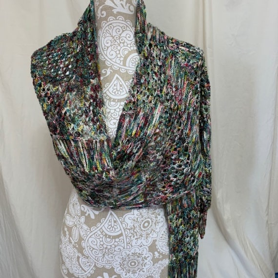 Merino Silk Wrap in green, red, gold and white with pops of blue, pink and purple