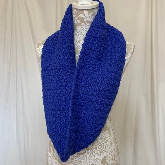 Cobalt blue 100% organic cotton infinity scarf  NO WOOL