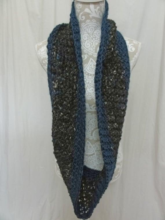 Hand spun wool alpaca silk black ivory teal infinity scarf