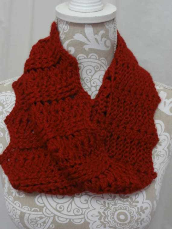 Ruby red baby alpaca cabled cowl | red alpaca neckwarmer