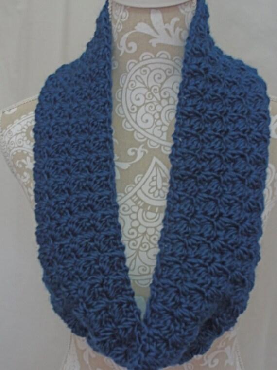 Chunky steel blue infinity scarf/cowl NO WOOL