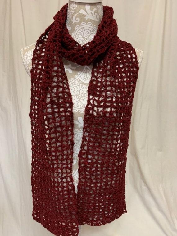Red wool alpaca scarf raised, spun, dyed and crocheted in Montana