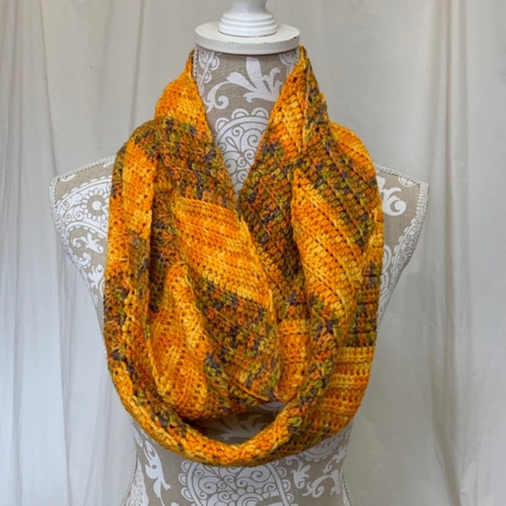 Bright sunflower yellow infinity scarf with lavender and green accents in merino wool