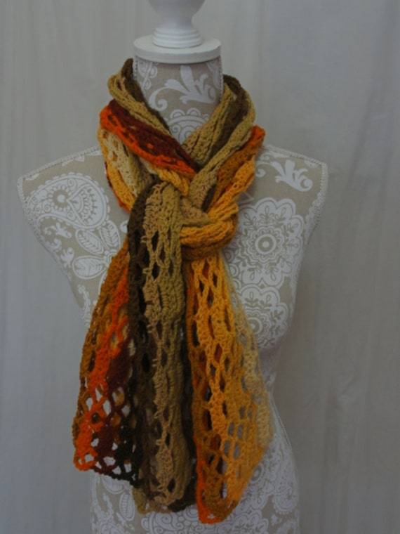 Pumpkin, chocolate and taupe merino scarf