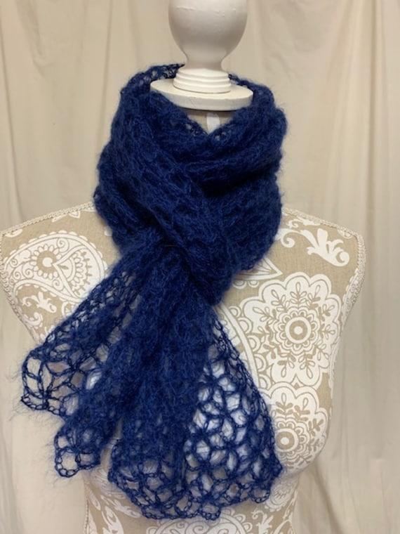 Cobalt blue baby mohair silk scarf