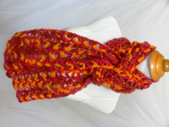Bright orange pink and golden scarf  mohair wool blend